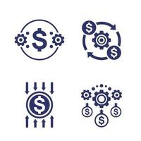 efficiency, cost reduction and optimization, financial icons vector