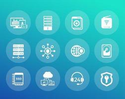 Hosting, servers, network vector icons set