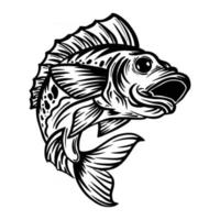 hand drawn illustration black and white fish jumping vector