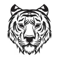 hand drawing black and white tiger head vector illustration