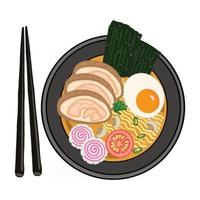 hand drawn illustration of japanese food ramen noodles with various toppings vector