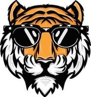 hand drawn illustration of a tiger head wearing sunglasses vector