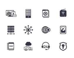 Hosting, servers, network infrastructure, data storage vector icons on white