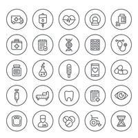 medicina, iconos de salud establecidos en blanco, farmacéutica, pastillas, ambulancia, resonancia magnética, bolsa iv, silla de ruedas, estilo lineal vector