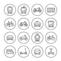 iconos de transporte de la ciudad en blanco, furgoneta de tránsito, taxi, autobús, taxi, tren, bicicletas, scooters, estilo lineal vector