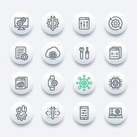 Desarrollo, configuración, hardware, conjunto de iconos de línea de configuración vector