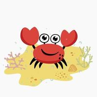 Funny cute crab on the sand with seaweed and seashell and water bubbles vector