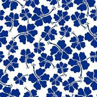 Seamless pattern tropical flowers flat vector