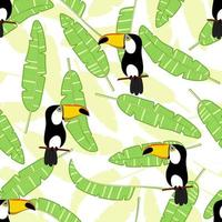 Exotic banana leaves and bird toucan Seamless pattern vector