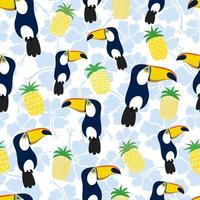 Exotic bird toucan, pineapples and flowers Seamless pattern vector