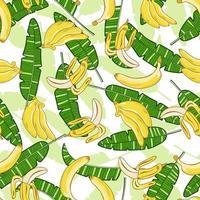 Exotic banana and banana leaves Seamless pattern vector