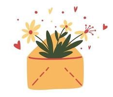 Cute envelope with flowers, plants inside. Floral mail. Spring flowers bouquet. Vector design concept for Valentines Day and other users. Vector illustration in cartoon style.