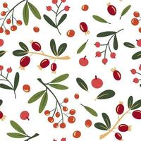 Autumn wild berries seamless pattern. Background with rowan and rosehip berries. Design for poster, kitchen textiles, clothing and wallpaper. Flower graphic design. Botany texture. Vector