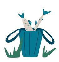 Fresh fish bucket. The fisherman's catch. Concept of fishing, outdoor recreation, camping. Vector illustration in cartoon style.