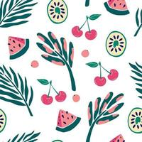 Exotic jungle fruits and plants seamless pattern. Kiwi, watermelon slices, cherries and berries. Contemporary floral seamless pattern. Textile fabric swimwear graphic design for print. Vector