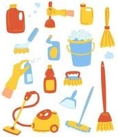 artículos para el hogar y set de limpieza. herramientas de limpieza de la casa. conjunto de productos de limpieza. el concepto de limpieza y orden. para banners web, sitios web, materiales impresos, infografías. vector