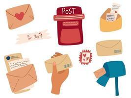 conjunto de sobres de correo colección de varios buzones de correo de cartas postales de papel artesanal perfecto para álbum de recortes, kit de pegatinas, etiquetas. ilustración vectorial en estilo de dibujos animados. vector