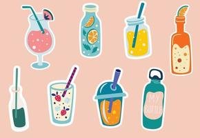 Summer drinks stickers Cocktail lemonade soda smoothies in cute bottles Tropical party elements Summer labels stickers icons logo set Design for cards posters or parties Vector