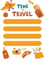 Summer planner template. Time to travel. Good organizer and schedule. List of items or purchases. Summer wish, to do list. Trendy holiday concept. Vector illustration in cartoon style.
