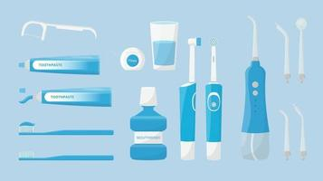 Oral and teeth care Set of dental cleaning tools Toothbrush electric toothbrush portable irrigator and toothpaste mouthwash dental floss isolated Dental hygiene vector