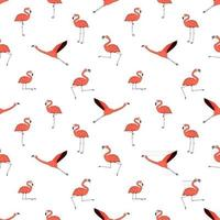 Doodle active flamingos dancing fly sleep rest relax dream walk Outline cartoon pink peach animals isolated on white background vector