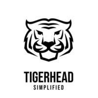 premium tiger head vector black logo icon illustration design