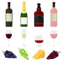 Collection of alcoholic beverages and light snacks Cartoon style Wine champagne whiskey Vector illustration isolated on white background