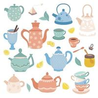 Collection of tea time elements Vector tea icons Teapots cups cupcakes and sweets honey lemon isolated on white background Design elements