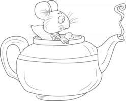 ratón de contorno en una tetera alicia en el país de las maravillas perfecto para colorear página vector