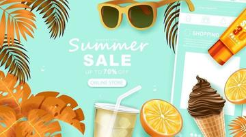 Summer banner template with Tropical leaves vector