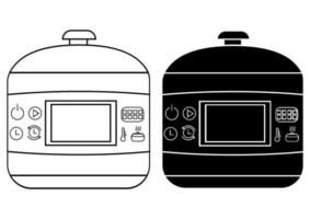 Steamer icons in outline and glyph style. Original electric food steamer or double boiler. Vector