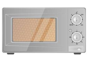 Realistic microwave oven in grey color. Household appliance to heat and defrost food, for cooking, with timer and buttons. Modern microwave icon isolated on white background vector