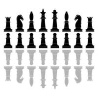 Chess pieces icons. Board game. Silhouette of knight, bishop, pawn, queen, rook and  king in black color vector