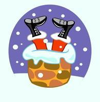 Chimney Santa Claus vector