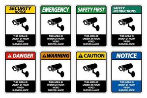 This Area is Under 24 Hour Video Surveillance Sign on white background vector