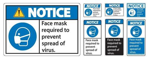 Notice Face mask required to prevent spread of virus sign on white background vector