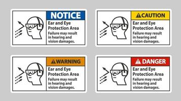 Ear And Eye Protection Area, Failure May Result In Hearing And Vision Damages vector
