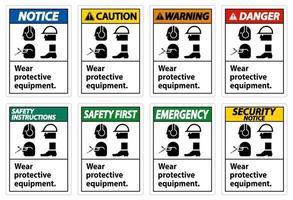 Use equipo de protección con símbolos de ppe sobre fondo blanco. vector