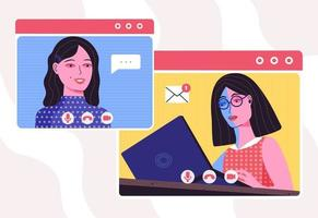 Video conference and chatting Work from home vector