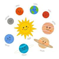 Cute Solar system. Sun and planets characters in childish style with they names vector