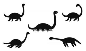 Nessie or Loch Ness monster silhouettes vector