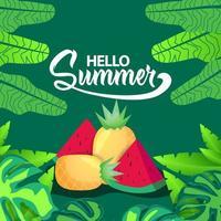 Square illustration summer banner design vector