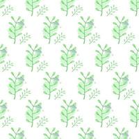 Green watercolor floral seamless pattern design on white background vector