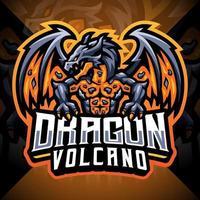 Dragon volcano esport mascot logo design vector