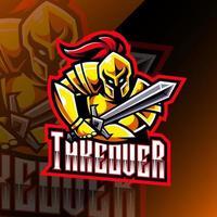diseño de logotipo de mascota de caballero deportivo vector