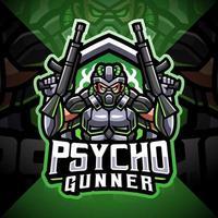 diseño de logotipo de la mascota de psycho gunner esport vector