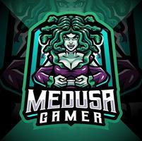 Medusa gamer esport mascot logo design vector