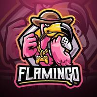 Flamingo games esport mascot logo design vector