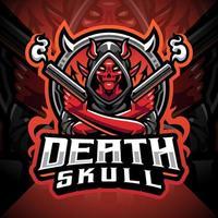 Death skull gunner esport mascot logo design vector