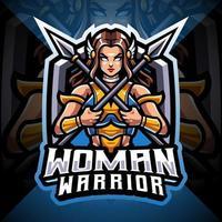 diseño de logotipo de mascota de esport de mujer guerrera vector